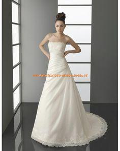 Unique schlichte Brautkleider A-Linie mit kurze Schleppe online kaufen 2013