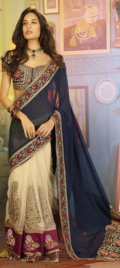 Bollywood sarees, Georgette, Net, Moti, Patch, Border, Lace, Machine Embroidery, Sequence, Blue, Beige and Brown Color Family