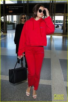 Selena Gomez Heads to Paris for Fashion Week!: Photo #938380. Selena Gomez still manages to look chic in red sweats while making her way through LAX Airport on Monday (March 7) in Los Angeles.    That same day, the 23-year-old…