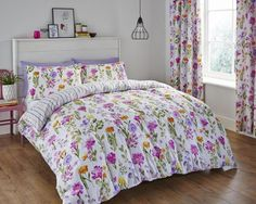 CATHERINE LANSFIELD MEADOW FLORAL REVERSIBLE DUVET COVER SET SINGLE DOUBLE KING