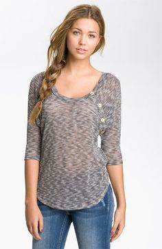 Very cute! Painted Threads Button Trim Mélange Top (Juniors) available at #Nordstrom