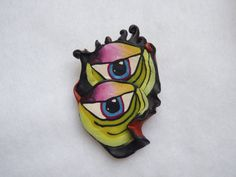 Rare and Unique Polymer Clay Vintage Handmade Brooch by GrannysInspirations on Etsy
