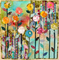A closer look at that quilt on the wall: Linda's Funky Flowers