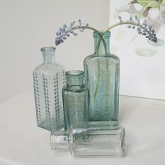 vintage bottles - I have a few, should be pretty easy to collect at flea markets