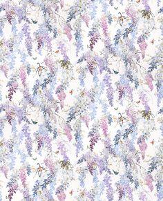 Wisteria Falls by Sanderson - Amethyst - Fabric : Wallpaper Direct Print Wallpaper, Flower Wallpaper, Wallpaper Backgrounds, Wallpapers, Vintage Artwork, Vintage Paper, Pattern Art, Print Patterns, Pattern Illustration