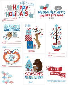 free printable christmas gift tags 2012 by wedgienetnet illustration design - Free Printable Christmas Tags Templates