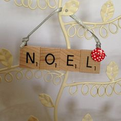 Wooden Scrabble Christmas Tree Decoration - 'Noel' With Red and White Polka Dot Button on Etsy, £3.50
