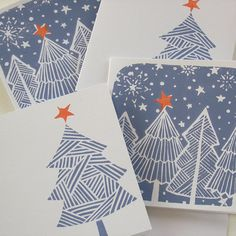 Christmas Tree hand printed cards - pack of 4