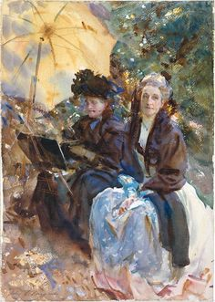 Miss Eliza Wedgwood and Miss Sargent Sketching (1908), Tate Gallery, London; Watercolor and gouache on paper.  Subjects are his friend, Eliza Wedgwood, and his sister, Emily.