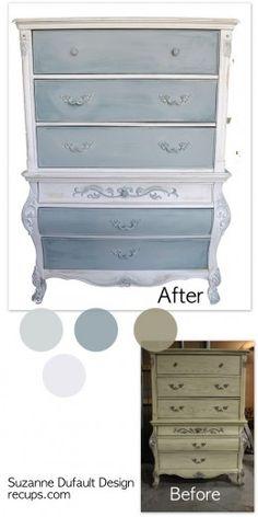 Commode bleu et blanc antique