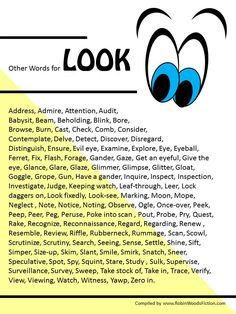 Writing Resource: Other Words for Look Creative Writing Tips, Book Writing Tips, English Writing Skills, Writing Words, Writing Quotes, Writing Resources, Writing Help, Essay Writing, Synonyms For Writing