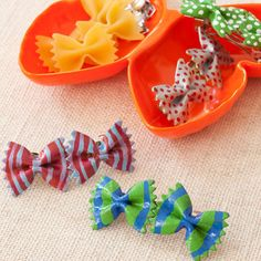Perfect indoor craft for rainy summer days: Bow-Tie Pasta Hair Barrettes