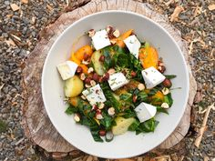 End of Summer Goat Cheese, Carrot and Cabbage Bowl