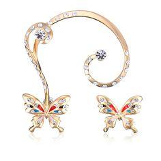 Gorgeous New Gold Plated Rhinestone Butterfly Ear Clip Stud Earrings Ear Cuff Jewelry, Cuff Earrings, Rhinestone Earrings, Crystal Rhinestone, Butterfly Earrings, 18k Rose Gold, 18k Gold, Ear Cuffs Online, Silver Ear Cuff
