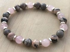 Women's Bracelet, Pink Zebra stone Bracelet, Rose Quartz Bracelet, Boho Bracelet, Yoga Bracelet, Mala Beads, Gemstone Bracelet, Gift for Her by CrystaliciousDesigns on Etsy