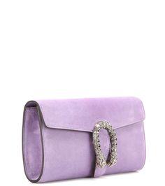 Dionysus lilac crystal-embellished suede clutch