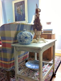 Living room ~ shabby chic bar cart painted with Annie Sloan chalk paint