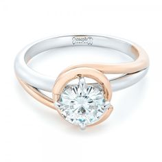 Custom Two-Tone Solitaire Diamond Engagement Ring | Joseph Jewelry | Bellevue | Seattle | Online | Design Your Own Ring