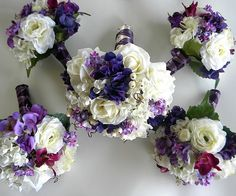 Blue Lily Bridal: 15 Piece Wedding Package in Purples, White and Lavender  with Real Touch Roses.