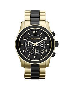 Michael Kors Men's Black and Gold Tone Stainless Steel Runway Chronograph Watch #belk #mens #gifts
