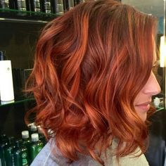 hair | red | orange | highlights | curls | bob | lob | long bob