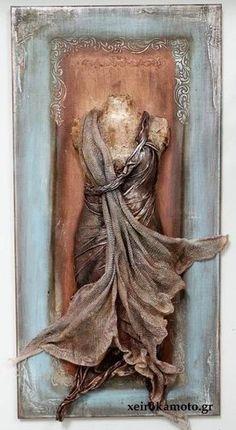 Lady di ferro with paverpol Altered Canvas, Altered Art, Mixed Media Collage, Mixed Media Canvas, Sculpture Art, Sculptures, Mannequin Art, Plaster Art, Assemblage Art