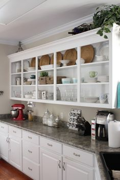 Open Shelves/Cabinets by just taking the doors off.
