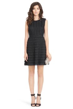 Dolly Lace Detail A-line Dress In Black  $249.00 Soft satin and lace come together in the intricate Dolly dress. With a modern crew neck and flattering flare skirt. Side zip and back keyhole closure at neckline. Fully lined. Falls to mid thigh. Fit is true to size. Style #: D8048896N13 48 cm / 19 in from natural waist