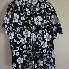 Vintage Authentic RJC Ltd. Mens XL Navy Blue White Hawaiian Shirt Button Down Shirt 1960 Beach Attire Party BBQ Gift Present Christmas