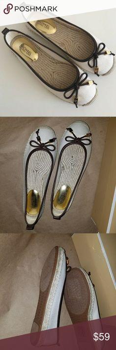 Michael Kors Canvas Espadrille flats NIB Michael Kors Natural color size 6M 36 Leather  Brown contrast Trim - comfort & style Michael Kors Shoes