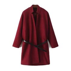 Pure Color Wool Coat With Belt ($46) ❤ liked on Polyvore featuring outerwear, coats, jackets, wool coat with belt, red wool coat, belted coat, wool coat and woolen coat