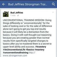 Unconventional training wisdom.