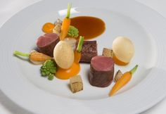 Lunch catered by three Michelin star chef Jonnie Boer; Dutch spring lamb, vegetables and gravy of star anise. Nuclear Security Summit 2014, The Hague