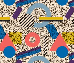 Memphis Inspired Pattern 3 fabric by seasonofvictory on Spoonflower - custom fabric Graphic Design Trends, Graphic Patterns, Textile Patterns, Textile Prints, Print Patterns, Surface Pattern, Pattern Art, Pattern Design, Pattern Illustration