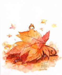 A little shy autumn fairy hiding behind a maple leaf. Autumn Illustration, Cute Illustration, Halloween Drawings, Halloween Art, Art Fantaisiste, Art Mignon, Autumn Fairy, Ouvrages D'art, Fairy Art