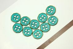 Heptagon Teal Blue Metal Buttons , 4 Holes , 0.43 inch , 10 pcs on Etsy, $4.00