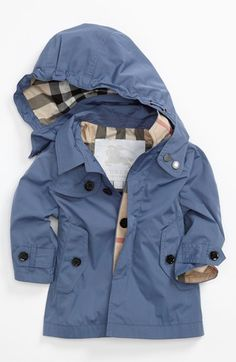 Burberry 'River' Coat (Baby Boys) available at Nordstrom Little Boy Fashion, Baby Boy Fashion, Toddler Fashion, Kids Fashion, Womens Fashion, Smart Jackets, Toddler Boys, Baby Kids, Baby Swag