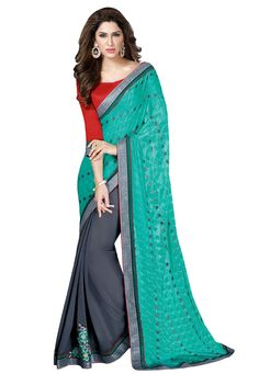 #Dark #Grey And #Green #Chiffon #Saree With #Blouse.  #Dark #Grey And #Green #Chiffon #Saree #designed with #Zari,#Resham #Embroidery.  INR: 1,156.00  With Exclusive Discount  Grab: http://tinyurl.com/jhdacz4