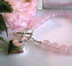 Cuarso Rosa con dije de Corazon -Rose Quartz Heart Bracelet