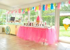 Ice Cream Party -- ice cream cart with sweets and ice cream toppings bar; Photo: Treasured Memories Photography #icecreamparty