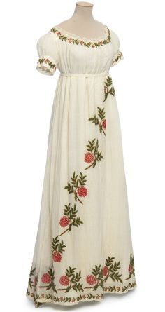 Wool embroidered cotton dress, c1805-10
