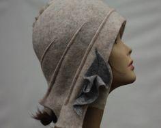 1920s Felt Hat Felt women hat wearable art hat unique by 2UBEAUTY