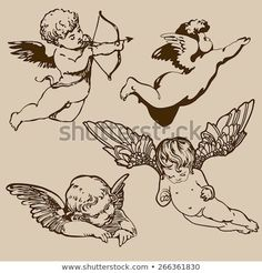 Find Set Various Angels Cupids Isolated stock images in HD and millions of other royalty-free stock photos, illustrations and vectors in the Shutterstock collection. Thousands of new, high-quality pictures added every day. Pretty Tattoos, Cute Tattoos, Body Art Tattoos, Small Tattoos, Sleeve Tattoos, Tatoos, Kunst Tattoos, Bild Tattoos, Tattoo Drawings