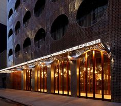 Dream Hotel entrance at night (Image Courtesy Phillip Ennis)