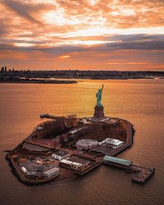 New York sunset over Lady Liberty