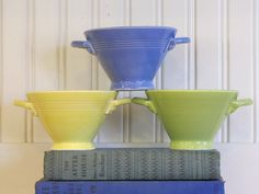 Three 1930s Art Deco, Harlequin Homer Laughlin Sugar Bowls, Harlequin, Homer Laughlin, Fiesta, 1930s Ceramics, Art Pottery, Sugar Bowl