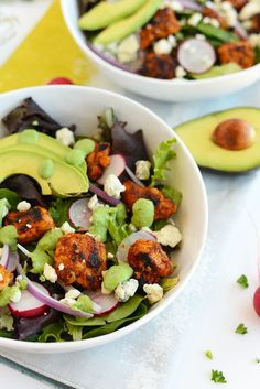 Sriracha Chicken Salad with blue cheese and green goddess dressing