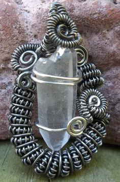 Wire Wrapped Quartz Point Pendant/Necklace by alexart on Etsy, $35.00