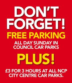 Advertisement of free parking in Swansea City Centre.
