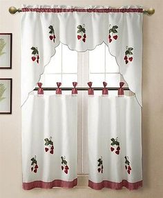 3 pc Strawberry Kitchen Window Embroidered Curtain Set w/ Valence & 2 Tiers[White]